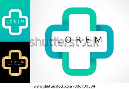 Help cross or pharmacy logo vector - stock vector