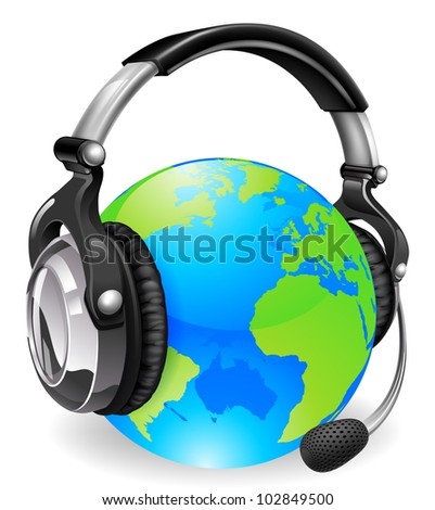 Help desk headset world globe. Concept for online chat or telephone support. - stock vector