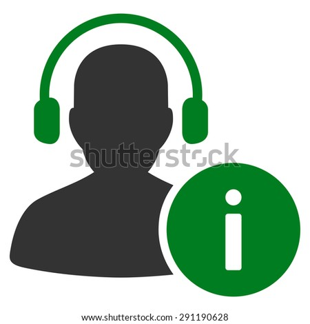Help Desk icon from Commerce Set. Vector style: bicolor flat symbol, green and gray colors, rounded angles, white background. - stock vector
