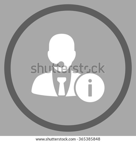 Help Desk vector icon. Style is bicolor flat circled symbol, dark gray and white colors, rounded angles, silver background. - stock vector