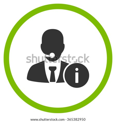 Help Desk vector icon. Style is bicolor flat circled symbol, eco green and gray colors, rounded angles, white background. - stock vector