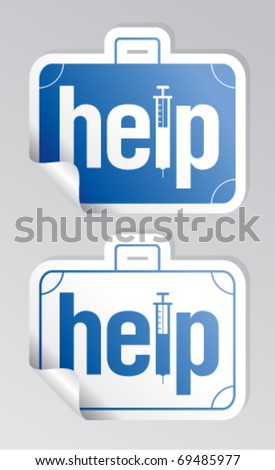 Help, first aid stickers set. - stock vector