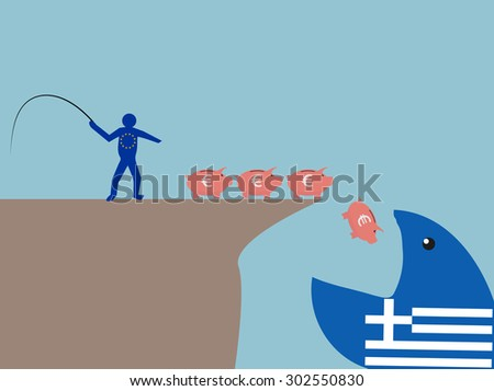Help for Greece.The European Union and the crisis in Greece. - stock vector