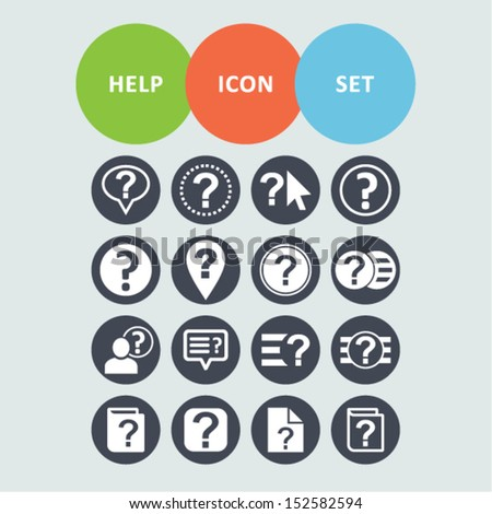 Help icons for web - stock vector