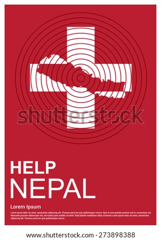 Help Nepal Charity advertisement. Help Nepal. earth quake location highlighted around map. - stock vector