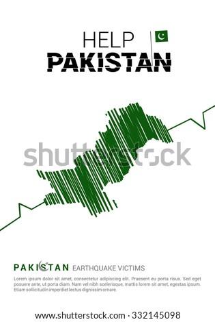 Help Pakistan Poster template. Earth quake crack in Map. Pray for Pakistan earthquake poster template. Earthquake Crisis Concept Vector illustration - stock vector