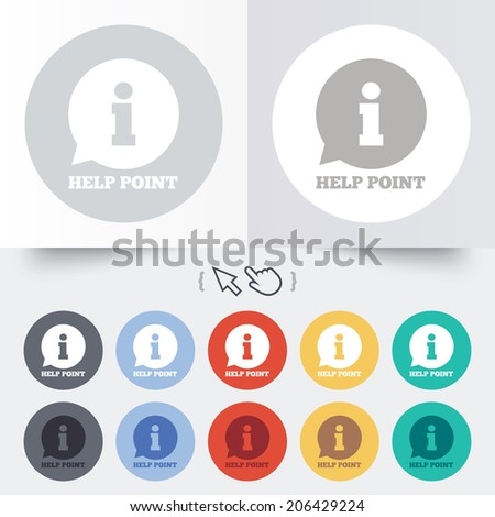 Help point sign icon. Information symbol. Round 12 circle buttons. Shadow. Hand cursor pointer. Vector - stock vector