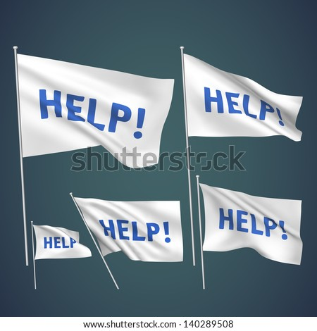 Help - white vector flags. A set of wavy 3D flags created using gradient meshes. EPS 8 vector - stock vector