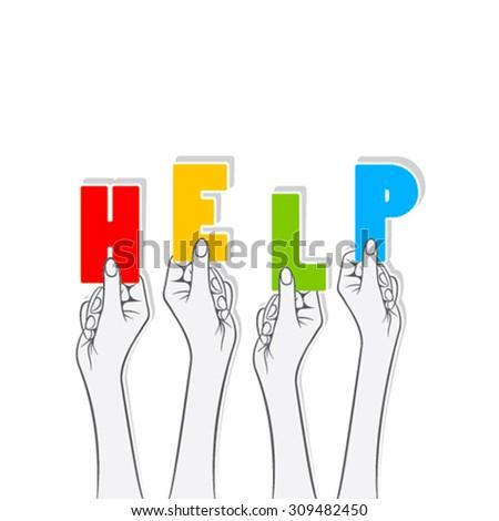 help word hold in hand concept design vector - stock vector