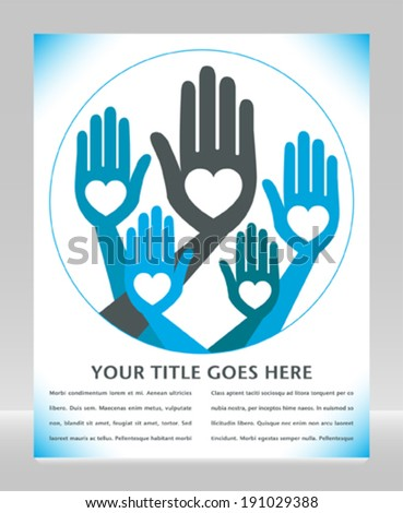 Helpful united hands design.  - stock vector