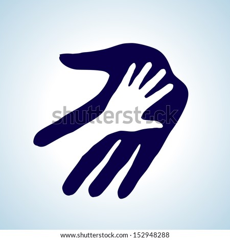 Helping hand illustration in white and blue. Concept of help, assistance and cooperation. - stock vector