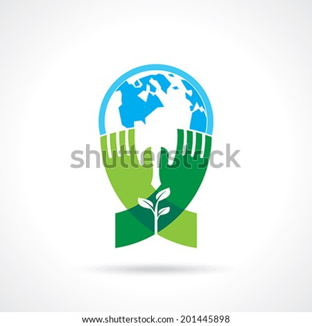 Helping hand make tree on earth - vector illustration - stock vector