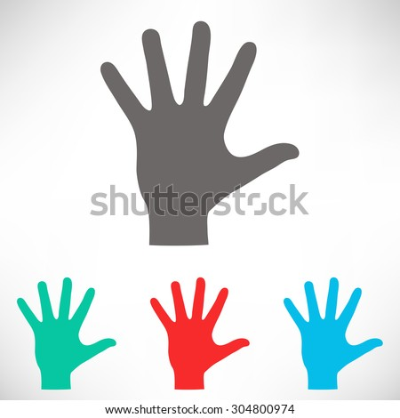 Helping hand silhouette. Set of varicolored icons. - stock vector