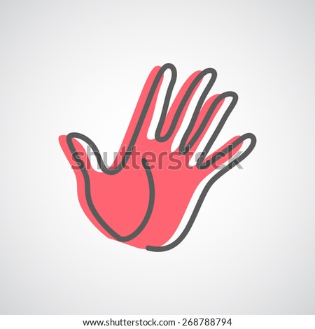 Helping hand silhouette vector logo design template. Five fingers hand creative concept icon. - stock vector