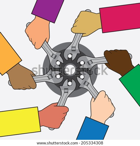 Helping Hands - stock vector