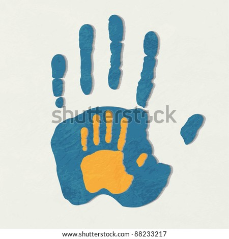 Helping hands. Adult Care about child.greeting. Vector illustration. - stock vector