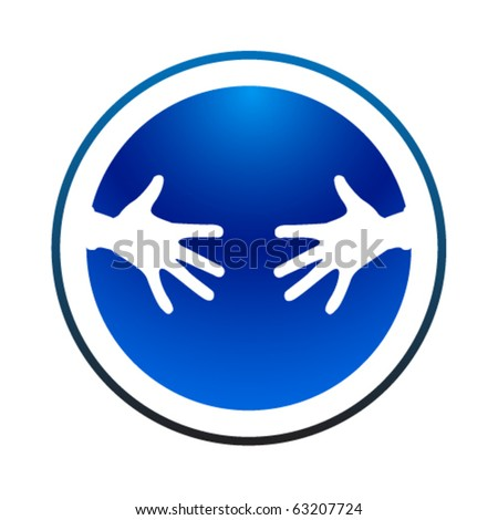 Helping hands blue icon - stock vector