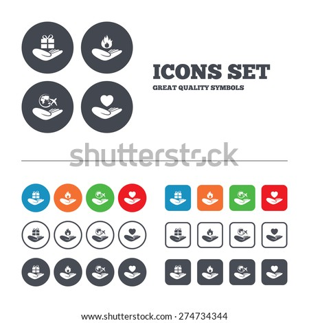 Helping hands icons. Health and travel trip insurance symbols. Gift present box sign. Fire protection. Web buttons set. Circles and squares templates. Vector - stock vector