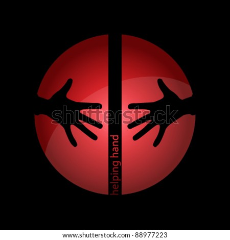 Helping hands red icon with space for text - stock vector