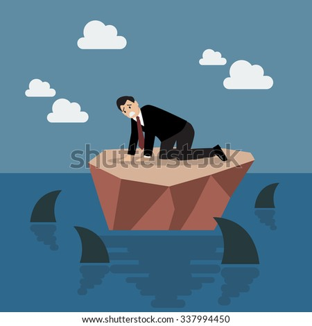 Helpless businessman on a small island which surrounded by sharks. Business risk concept - stock vector