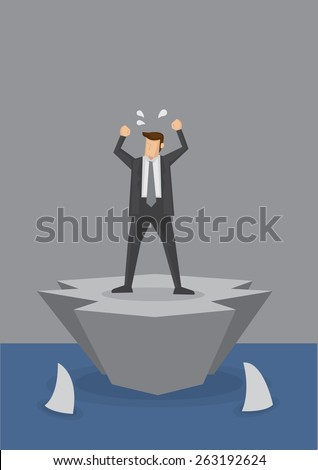 Helpless businessman stranded on a tiny island surrounded by sharks swimming in the sea. Concept vector illustration for being alone and helpless amidst lurking dangers. - stock vector