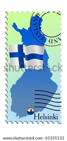 Helsinki - capital of Finland. Vector stamp - stock vector