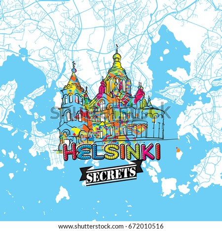Helsinki Travel Secrets Art Map Mapping Stock Vector 672010516