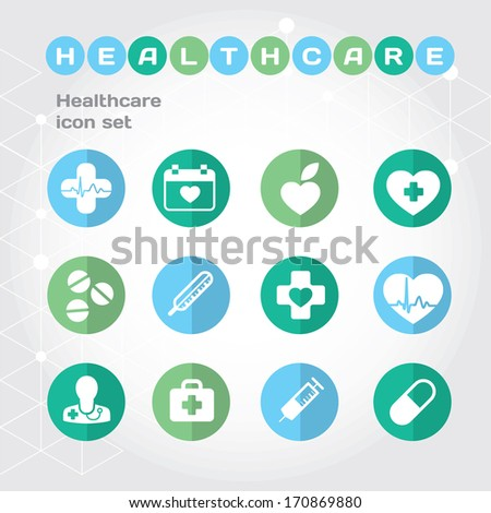 Helth care flat icon set with symbols of healthy life