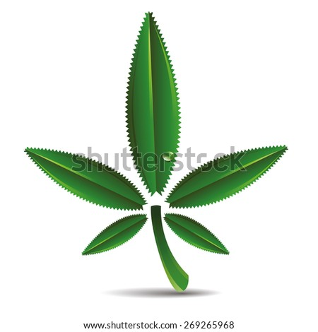 Hemp leaf icon - stock vector