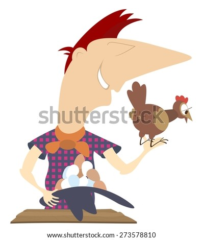 Hen lays a lot of eggs into a hat of the man - stock vector