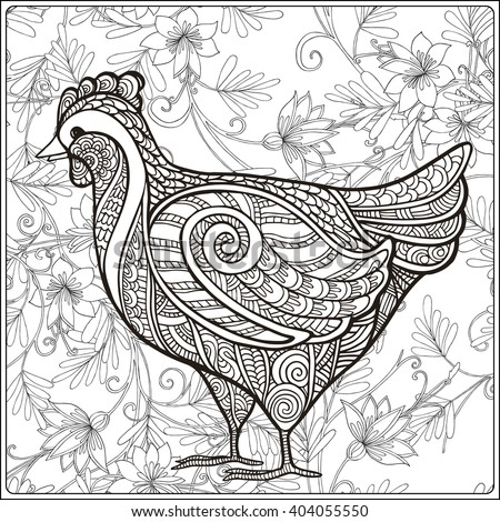 Hen On Floral Background Coloring Book For Adult And Older Children Page