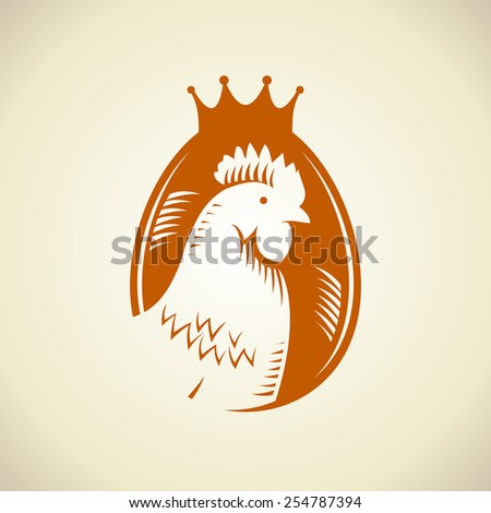 Hen silhouette against egg logo, royal quality food symbol. - stock vector