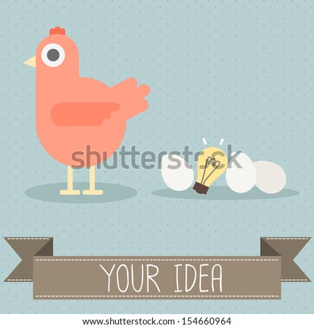 hen with egg and light bulb vector - stock vector