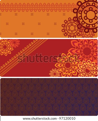 Henna Banner, Henna inspired Colourful Banner - very elaborate and easily editable - stock vector