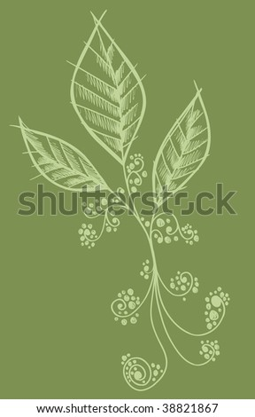 Henna doodle Flower Leaves design Vector - stock vector