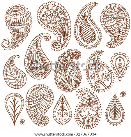 Henna doodles floral vector elements. Paisley. Isolated. Hand drawn illustration. Indian ornaments.
