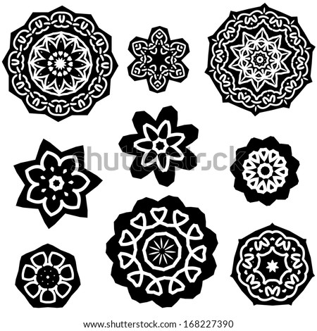 Henna Mandala Set - stock vector