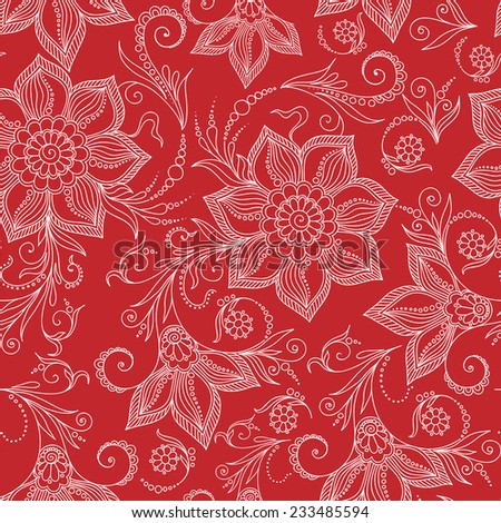 Henna Mehendi Tattoo Doodles Seamless Pattern on a red background - stock vector