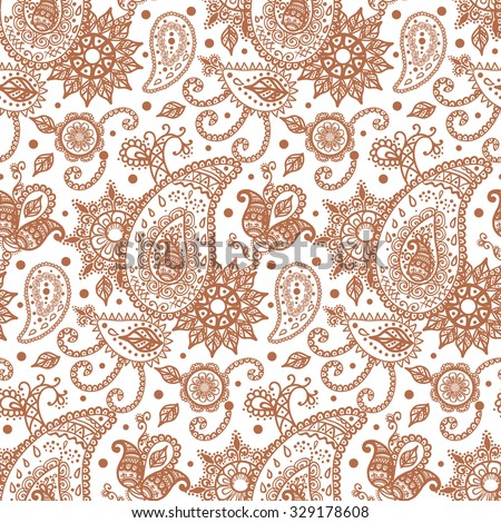 Henna Mehendi Tattoo Doodles Seamless Pattern on a white background, vector illustration - stock vector
