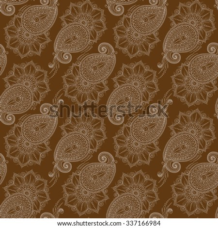 Henna MehendyTattoo Doodles Seamless Pattern. Floral retro background pattern in vector. Henna paisley mehndi doodles design.  - stock vector