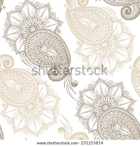 Henna MehendyTattoo Doodles Seamless Pattern on a white background - stock vector