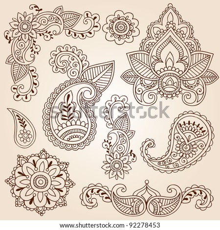 Henna Mehndi Doodles Abstract Floral Paisley Design Elements, Mandala, and Page Corner Design Vector Illustration - stock vector