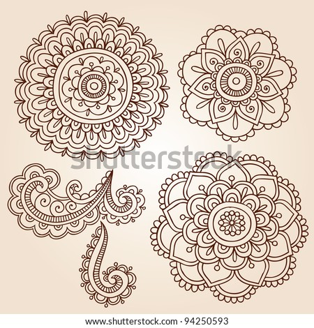 Henna Mehndi Flower Doodles Abstract Floral Paisley Design Elements Vector Illustration - stock vector