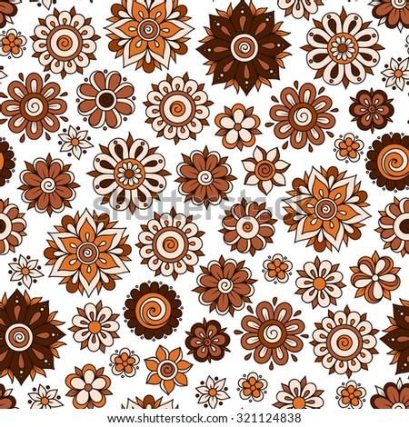 Henna Mehndi Tattoo Doodles Retro Seamless Pattern Flowers Illustration Design Elements - stock vector