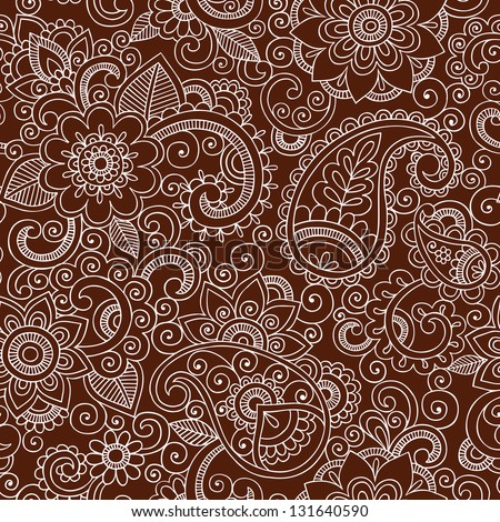 Henna Mehndi Tattoo Doodles Seamless Pattern- Paisley Flowers Illustration Design Elements on Dark Brown Background - stock vector