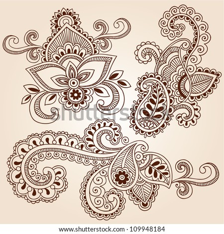 Henna Paisley Flowers Mehndi Tattoo Doodles Abstract Floral Vector Illustration Design Elements - stock vector