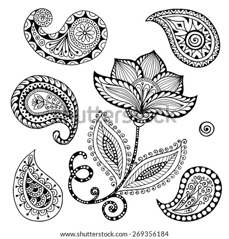 Henna Paisley Mehndi Doodles Abstract Floral Vector Illustration Design Element. Black and White version. - stock vector