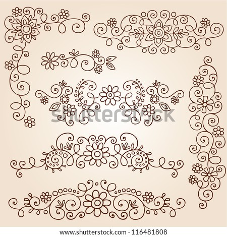 Henna Paisley Vines and Flowers Mehndi Tattoo Doodles Abstract Floral Vector Illustration Design Elements - stock vector