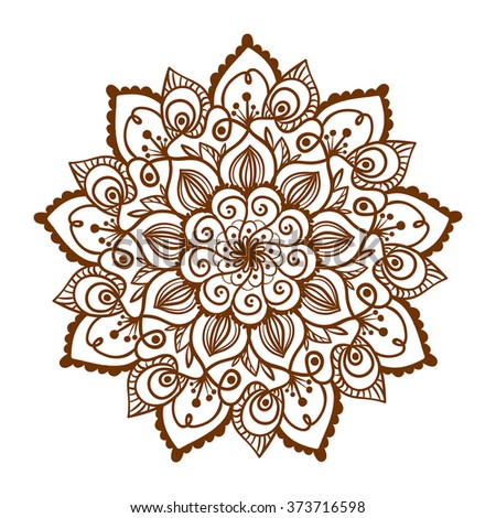 Henna tattoo doodle vector mandala on white background - stock vector
