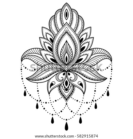 Henna Tattoo Flower Template Indian Style Vectores En